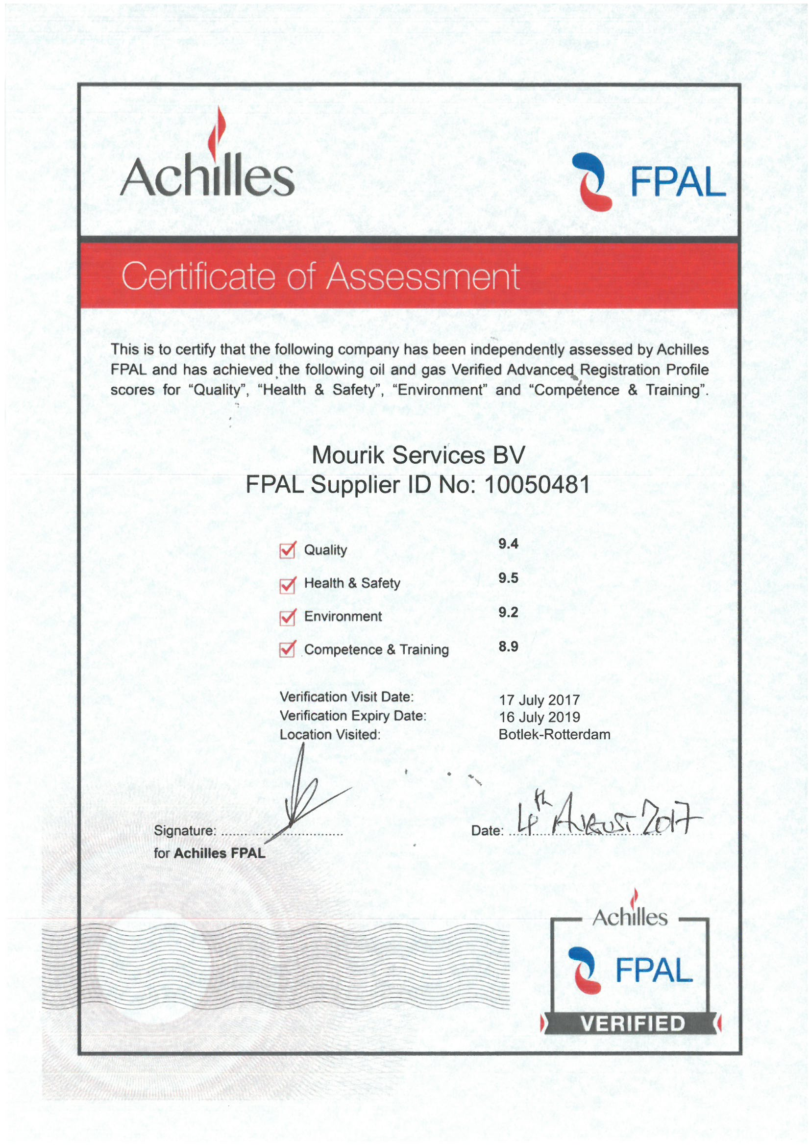 FPAL certificate 2017